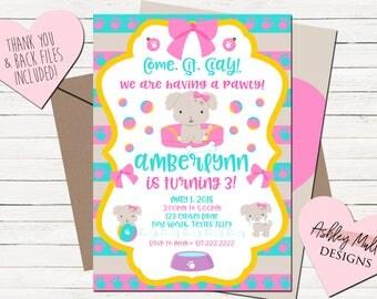 Puppy Birthday Invitation - Cute Dog Invitation - Pink Invite - Bows - Puppy - Dog - First Second Third Fourth Bday - Digital Download - #1