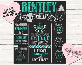 Boho First Birthday Chalkboard - Tribal - Antlers - Teal and Gray - Arrow - 1st Birthday Chalkboard - Pink and Purple - 1st Bday Stats Sign