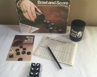 Bowl and Score Dice Game Milton Bradley #953, Vintage 1974, 10-pin bowling dice game, ages 8 to adult, any number of players, complete