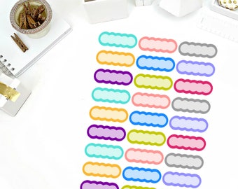 Solid Shaded Scallop Stickers! Perfect for your Erin Condren Life Planner, calendar, Paper Plum, Filofax!
