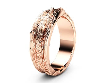 Twig Design  Wedding Ring 14K Solid Rose Gold Commitment Ring Unique Wedding Band