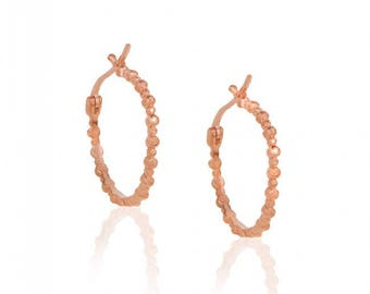 Pink Gold Plated Sterling Silver Bubble Hoop Earrings