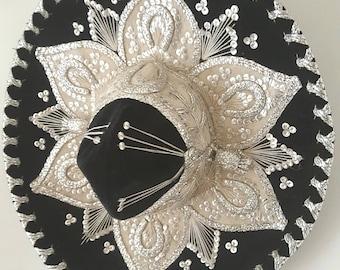 Vintage Mexican Sombrero, midcentury sequinned Sombrero, Luna, Mariachi costume, Mexican dress, black velvet sombrero.