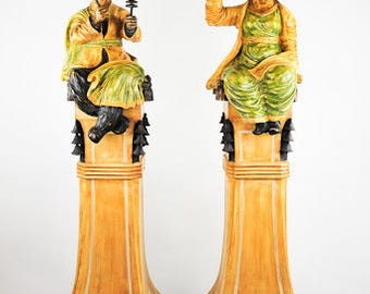 Chinese Decorative Figural Sculptures of Ming Man and Woman