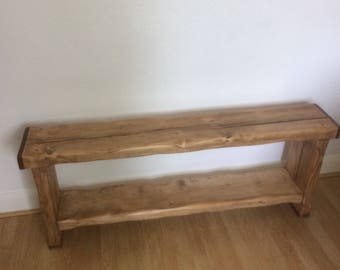 Large Driftwood bench seat with shelf 127 cms