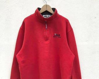 20% OFF Vintage Fila Biella Italia Half Zipper Pullover / Fila Sweater / Casual Clothing / Fila Sport / Fila Red Sweater