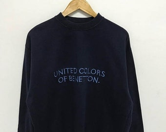 20% OFF Vintage United Colors Of Benetton Embroidery Logo Sweatshirt/Benetton Sweater/Benetton Spellout