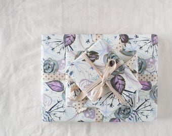 Christmas winter gift wrap, winter wedding wrapping paper, frosted floral, lilacs and greys, ink and watercolour, repeat pattern, seedpods