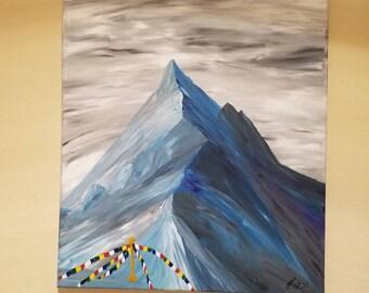Himalayan prayer flags mountain