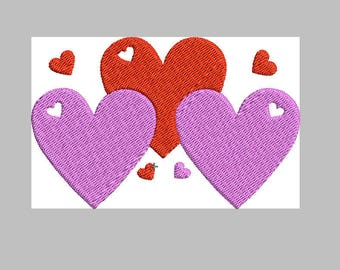 3 Heart Embroidery Design Instant Download embroidery file Machine embroidery,Digital embroidery pattern sizes 4x4 embroidery,5x7
