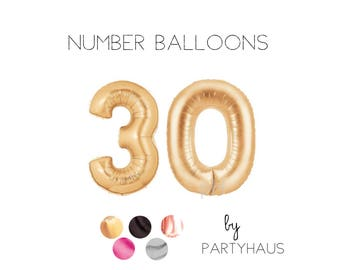 """30 Balloon, 40"""", Gold, Number Balloons, Copper Gold, Numbers, 30th Birthday Balloons, Number, 30, 30th, Hashtag, #, Copper"""