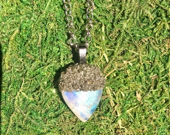 Gorgeous Rainbow Moonstone Acorn Pendant Necklace