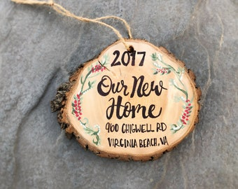 New Home Christmas Ornament Wood Slice Personalized New House, Hand Lettered Rustic Tree Ornament, Twine, Hanging made to order