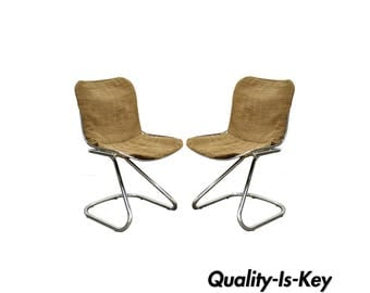 Pair of Vintage Mid Century Modern Tubular Chrome Wire Cantilever Side Chairs