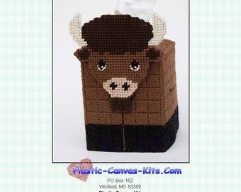 Bison/Buffalo 3-D Tissue Topper-Plastic Canvas Pattern-PDF Download