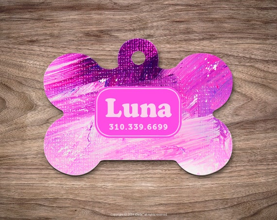 Dog Tags for Dogs Pet Tags Brush Strokes Dog Tag for Collar Dog Tag Dog Tags Personalized Dog Tags for Pets Pet ID Tag Dog Custom Dog Tag