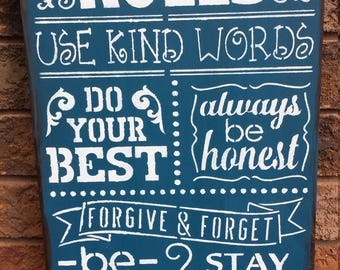 FAMILY RULES SIGN/Family Gift/Hostess/Housewarming