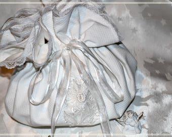 Lovely white cotton pique - Theme wedding pouch