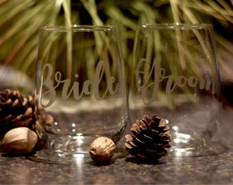 Etched Bride and Groom Wine Glass Set