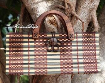 Bamboo Hand Bag Clutch Bag Purse Natural Fair Trade Handmade  Thai Asian Elephant Button Cute Girls Hmong