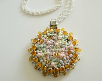 """Necklace round pendant """"Marie - Antoinette"""" embroidered with silk ribbons and Swarovski crystals on a silver chain"""