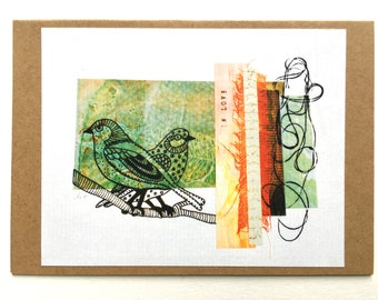 """Art card """"In love"""" - Collage and hand-drawing with acrylic inks"""