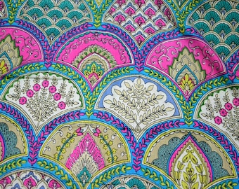 Quilting Cotton Fabric by yard - Summer Dresses in Scallops Print, Boho Fabric, Gypsy Fabric, Fabric by the Yard, Indian fabric