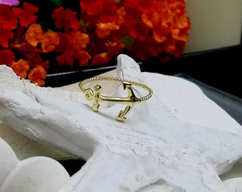 SALE! Gold Anchor Ring,Gold Band, Simple Ring,Everyday Ring,Rope Ring,Tiny Ring,Slim Ring,Minimalist Band