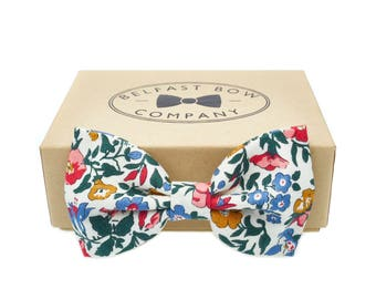 Handmade Floral Bow Tie in Liberty Print - English Garden - Pink Blue Bottle Green Gold Yellow- Adult & Junior sizes available