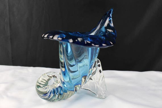 Art Glass Blue and Clear Jack in the Pulpit Horn Of Plenty Vase Murano Italy