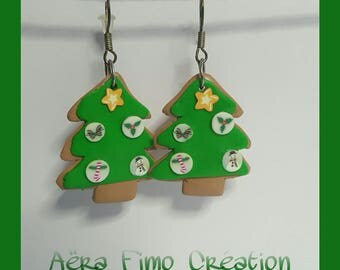 Polymer clay Christmas tree cookie earring