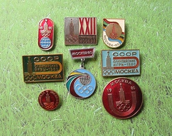 20% Off Sale 8 Olympic Pins, Moscow 80, Soviet Olympic Pin, Olympic Games, Sports Collectible, Olympic Collectible, Gift for Sportsmen