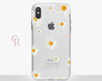 Daisy Clear Phone Case - Clear Case - For iPhone 8, 8 Plus, X, iPhone 7 Plus, 7, SE, 5, 6S Plus, 6S,6 Plus, Samsung S8,S8 Plus,Transparent