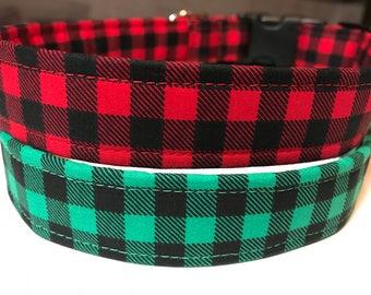 Christmas Plaid Dog Collar ~ Boy Dog Collar ~ Matching Leash Available