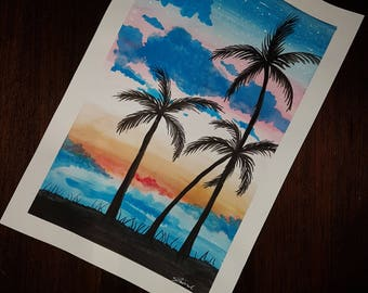Gouache - Tropical Sunset painting