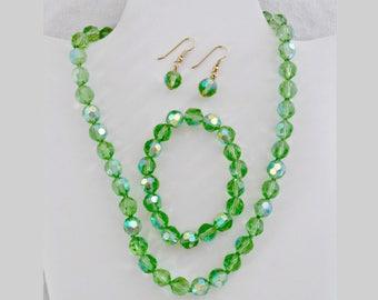 Vintage Jewelry Set, Green Aurora Borealis Glass Beads, Necklace Bracelet Pierced Earrings Set, Full Parure, Circa 1970s, Includes Gift Box