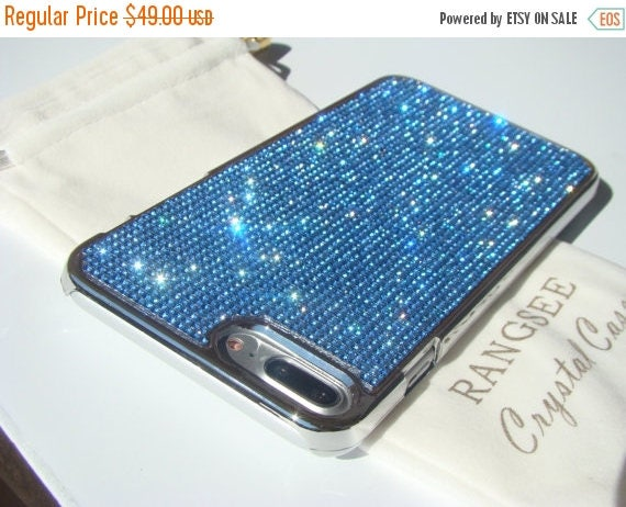 Sale iPhone 7 Plus Blue Sapphire Diamond Rhinestone Crystals on Silver Chrome Case. Velvet Pouch Included, Genuine Rangsee Crystal Cases