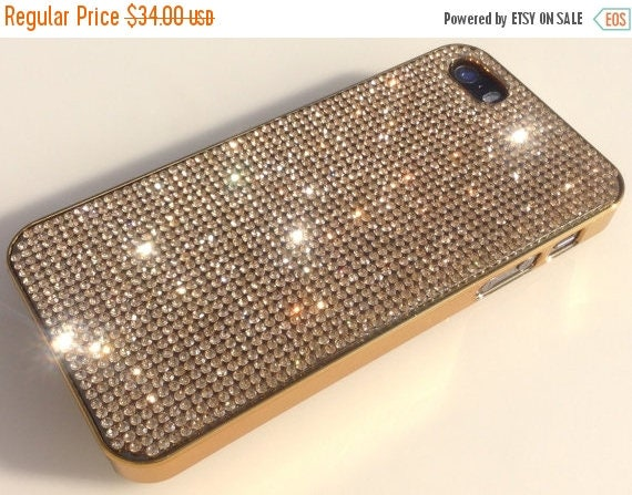Sale iPhone 5/5s/5se Gold Topaz Crystals on Gold-Bronze Electro Plated  Case. Velvet/Silk Pouch Bag Included, Genuine Rangsee Crystal Cases.