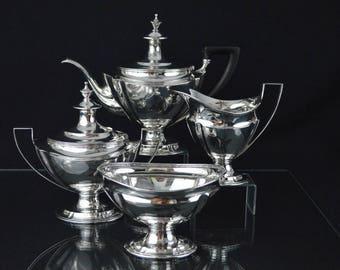 Tiffany & Co. Four Piece, Heavy Gauge Sterling Silver Tea Service, circa 1907-1945