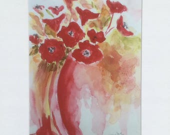 Reproduction of my watercolor poppies - poppies bouquet-