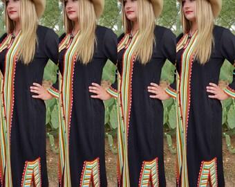 Thai Tribal Duster / Gypsy Hippie Ethnic Dress Size M