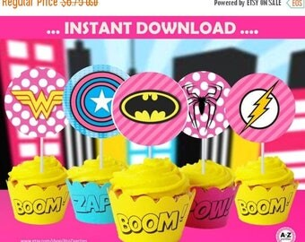 60% OFF SALE Superhero  Cupcake toppers, INSTANT Download, supergirl, 60 Percent savings  Party Decoration, centerpieces, labels, banner, si