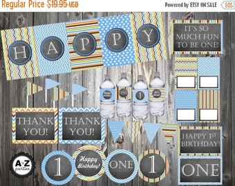 60% OFF 1st Birthday Party Package, Full party,  Signs, Favor Tags, Water Bottle Wrappers, Food Cards, Printable, DIY, One INSTANT Download