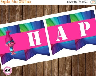 60% OFF Troll banner, happy birthday banner  Party Decoations, Trolls, Troll Movie, instant download, matching items,  banner, DIY kit, prin