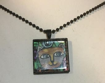 Cat Art Pendant and Black Chain Necklace- Original Painting and Beveled Glass