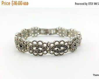 Sale Marcasite silver tone panel bracelet