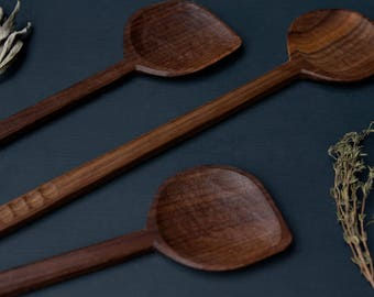 Hand Carved, Walnut, Faceted Cooking Spoon - Konk! + Fiona de Wert