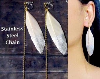 Soft Pink Silver Feather Clip-On Earrings |36A| Stainless Steel Chain Gold Clip On Earrings, Long Dangle Clip Earrings, Invisible Clip-ons