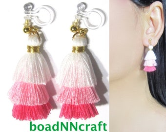 Invisible Clip-ons, Colorblock Mini Tiered Pink White Tassel Clip On Earring |39E Colorful Fun Fringe Non Pierced Dangle Long Clip Earrings