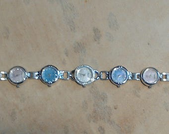 Multi time face watch time mother of pearl silver